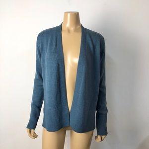 Ann Taylor LOFT women's blue open front cardigan